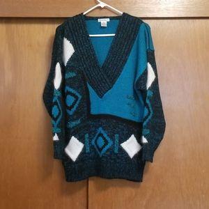 Vintage 80's Long V-Neck Sweater